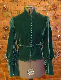 Elegant Forest Green Velvet Victorian Edwardian Inspired Jacket - RESERVED. $35.00, via Etsy.