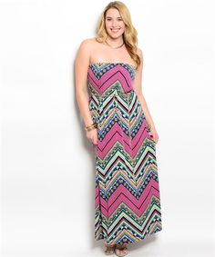 Purple Zig Zag and Geometric Print Strapless Maxi Dress - Plus Size - The Rustic Shop