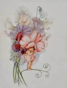 Snugglepot and Cuddlepie were my favourite books as a child. This is Sweet Pea Baby by Cecilia May Gibbs Vintage Fairies, Australian Art, Flower Fairies, Fairy Art, Children's Book Illustration, Vintage Cards, Pretty Pictures, Illustrators, Fantasy Art