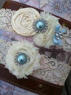 """something blue"" lace wedding garter"