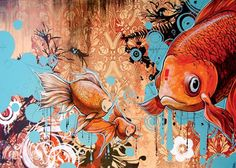 Thank you Blaine Fontana and Juxtapoz Magazine by Justin Cooper Koi, Communication Art, Electronic Art, Fish Art, Artist Painting, Amazing Art, Awesome, Photo Art, Contemporary Art