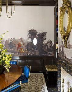 Gambrel Dining Room Detail. Love that wallpaper...mural?
