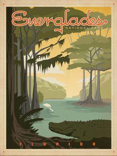 Ces affiches au design vintage qui représentent les plus importants sites touristiques aux USA sont créées par le studio AndersonDesign.