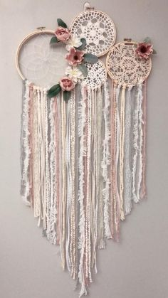 Best 12 Blush floral dream catcher For other colors please request a custom order ! This item ships in separate pieces . Can be hot glued together (or zip tied for easiest) Each dream catcher can take up to 2 weeks to make and days to ship. Doily Dream Catchers, Dream Catcher Craft, Dream Catcher White, Dream Catcher Boho, Diy And Crafts, Arts And Crafts, Flower Collage, Diy Tumblr, Style Deco