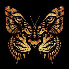 Even the frailest butterfly can be terrifying with the right attitude. This wall decal by Enkel Dika speaks to the inner souls of butterflies everywhere. Enkel Dika is an artist whose work speaks for Tiger Outline, Tiger Art, Tiger Drawing, Band Tattoos, Body Art Tattoos, Cloud Tattoos, Tattoo Art, Alien Tattoo, Tiger Tattoo