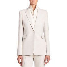 Akris punto Melange Jersey Blazer featuring polyvore, women's fashion, clothing, outerwear, jackets, blazers, apparel & accessories, tailored jacket, akris punto jacket, white blazer jacket, fleece-lined jackets and white jacket
