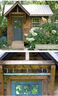 reclaimed wood garden shed with metal roof