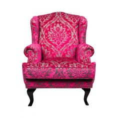 Sophia Arm Chair ($1,535) ❤ liked on Polyvore featuring home, furniture, chairs, accent chairs, pink, seating, occasional chairs, damask chair, pink chair and pink furniture