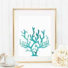 Coral Print, Watercolor Wall Art, Watercolor Print, Aqua Print, Coral Wall Art, Ocean Print, Beach House Decor, Ocean Wall Art, Printables on Etsy, $5.00