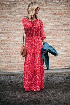 Red Long Sleeve Maxi Dress | Spring Boho Style