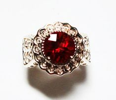 Labradorite ring solitaire ring red red jewelry by Michaelangelas, $79.99