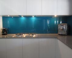blue glass kitchen splashback - Google Search