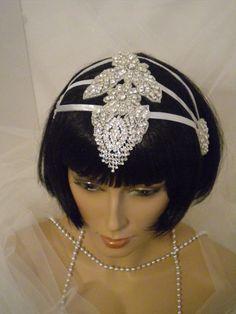 1920's Headpiece, Flapper Headband, Vintage, Bride, Bridal, Silver, Crystal, Rhinestones, Old Hollywood, Downton Abbey.. $79.00, via Etsy.