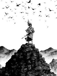 宮本武蔵 Musashi Miyamoto by Takehiko Inoue Manga Anime, Manga Art, Vagabond Manga, Inoue Takehiko, Arte Ninja, Samurai Artwork, Miyamoto Musashi, Japanese Warrior, Samurai Warrior