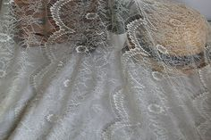 2 Yards 59'' Wide Gorgeous Off White /  Black French Lace Style Embroidery Eyelash Lace Fabric