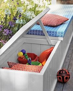 Make Storage Multitask (pool area?) Solve two outdoor problems -- a lack of seating and of storage -- at once. Transform wooden chests with paint and custom cushions made of waterproof foam and fabric. (For backyard toys, gardening stuff, and pool chems) Outdoor Toy Storage, Outdoor Toys, Outdoor Spaces, Outdoor Living, Deck Storage, Outdoor Couch, Storage Boxes, Outdoor Fabric, Storage Ideas