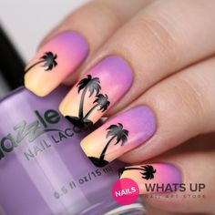 Palm Stickers for Nails Nail Stencils Sunset Nails por WhatsUpNails