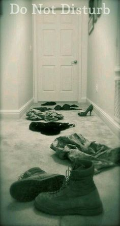 Do not disturb, combat boots,clothes on floor,door closed,meme