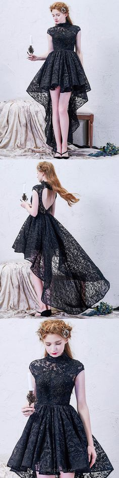 Black Prom Dresses High Low, A-line Formal Dresses High Neck, Tulle Party Gowns Asymmetrical, Lace Evening Gowns Black Open Modern