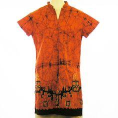 "Batik Long Blouse -Orange with Black (Small) 40"" $40"