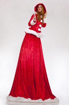 Gorgeous Mrs Claus Stilts act with traditional costume. Perfect for Chrismas! http://bigfootevents.co.uk/entertainment/Themed-Events/Christmas-Party-Night-Themed-Entertainment.aspx