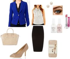 """""""Getcho job girl!""""  An outfit idea for a job interview. There is nothing wrong with having a pop of colour to show your personality, but go easy on the makeup! (Tip: keep your heels 3"""" and under )"""