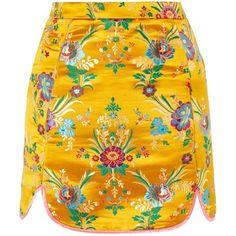 Brocade Pelmet Skirt by Glamorous Petite ($37) ❤ liked on Polyvore featuring skirts, high-waist skirt, high waisted knee length skirt, yellow high waisted skirt, high-waisted skirt and yellow skirt