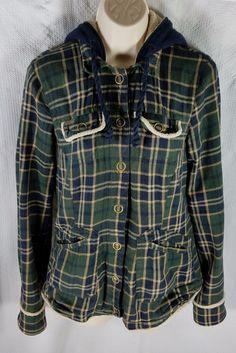 River Island Jacket Size 10 Green Tan Blue Plaid Hood Fleece Lined Button Front #RiverIsland  #Casual