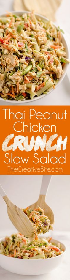 Thai Peanut Chicken Crunch Slaw Salad is an easy & healthy 20 minute salad loaded with fresh vegetables, flavor and crunch for a hearty lunch or dinner! Thai Peanut Chicken Crunch Slaw Salad is an easy & healthy 20 minute salad loade. Dairy Free Salads, Thai Peanut Chicken, Healthy Chicken, Thai Chicken, Thai Peanut Salad, Thai Crunch Salad, Broccoli Chicken, Broccoli Pasta, Keto Chicken