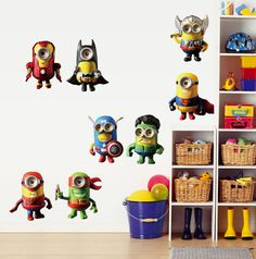 Super Hero Avenger Minions Despicable Me Wall Sticker Decal Children Room Decor  #Unbranded