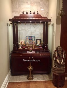 We build pooja mandirs in various sizes and provide many custom options based on your desires. You have freedom to make your pooja mandir unique and special to you. Pooja Room Door Design, Home Room Design, Dream Home Design, House Design, Temple Design For Home, Home Temple, Mandir Design, Corner Tv Unit, Living Room Tv Unit Designs