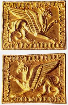 Two plaques in the form of griffins intended to decorate weapons - Museum Trogovittsa