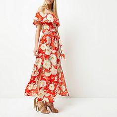 Red floral print bardot maxi dress