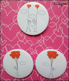 Y seguimos con los detalles de San Valentín. #chapó #chapaspersonalizadas #imanes #espejos #abrebotellas #sanvalentin