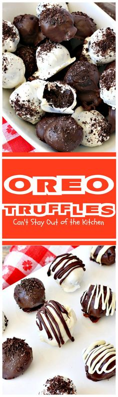 Oreo Truffles | Can't Stay Out of the Kitchen | Oh my gosh, heavenly doesn't begin to describe these amazing #truffles. Made with #Oreos, #creamcheese & #chocolate & vanilla bark. Fabulous for any party. #dessert