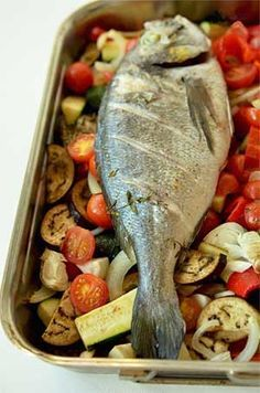 Bake Whole Sea Bream with Vegetables recipe