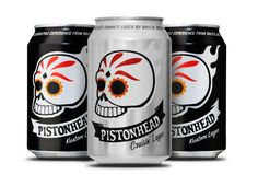 Packaging design for Pistonhead Beer. By Scandinavian Design Group. #packagingdesign #packaging #graphicdesign #design #kustomkulture #hotrod #brutalbrewing #pistonhead