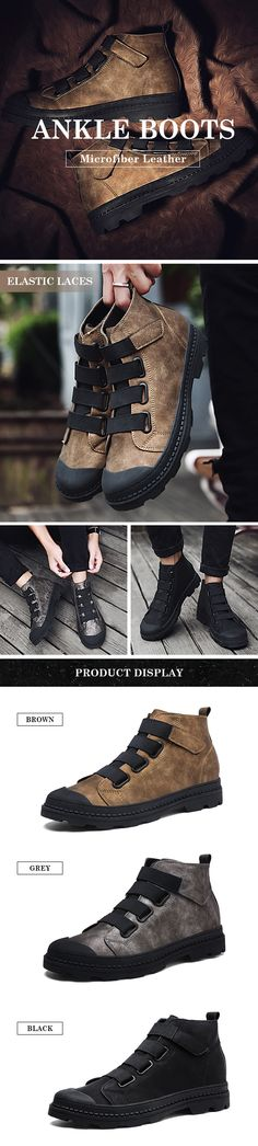 US$41.45 Men Elastic Laces Hook-loop Wearable Work Leather Boots#shoes #bootstrap #mensfashion #winter