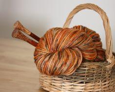 Hand Dyed Yarn / Russet Pumpkin Burnt Orange Grey Autumn Superwash Merino Wool / Worsted Weight