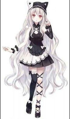 Manga girl - white hair - gothic - neko hat Tap the link Now - The B . Manga girl – white hair – gothic – neko hat Tap the link Now – The Best Cat Products We Found Worldwide! Anime Neko, Kawaii Anime Girl, Anime Girls, Manga Kawaii, Chica Anime Manga, Anime Girl Cute, Beautiful Anime Girl, Anime Love, Anime Art