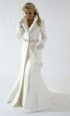 Wholesale - 2014 Winter Coat Fur Feather Christmas Wedding dresses with Long Sleeve WD03