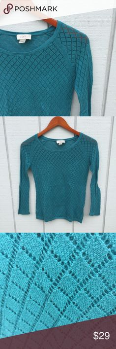 LOFT Knit Shirt Soft woven knit, beautiful teal color. This shirt is so cozy for fall 🌻🍁🎃. Ann Taylor Loft LOFT Tops