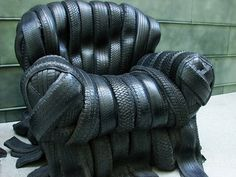 a chair made of tires http://www.digitaltravelerblog.com/2009/01/tire-chair.html