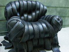 a chair made of tires http://www.digitaltravelerblog.com/2009/01/tire-chair.html