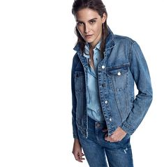 This all denim trend is so much 80's - the denim jacket, jeans and denim shirt all looking wild just like the model who wears them. Image by Dorothy Perkins.