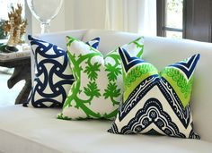 OUTDOOR Christopher Farr Cloth Springtime pillow by woodyliana, $65.00, Green and white pillow. - Love the vibrant colors!