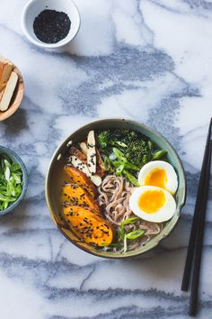 The Bojon Gourmet: Vegetarian Miso Ramen with Rice Noodles, Roasted Sweet Potatoes + Sesame Broccolini - make sure it's GF miso! Soup Recipes, Whole Food Recipes, Vegetarian Recipes, Cooking Recipes, Healthy Recipes, Vegetarian Ramen, Noodle Recipes, Rice Noodle Soups, Rice Noodles