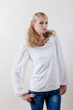 Longsleeves - Shirt SILENT GARDEN weiß ORGANIC - ein Designerstück von LUK-SUS bei DaWanda