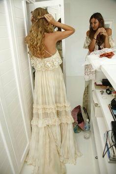 Dress: maxi dress, prom dress, ivory dress, white dress, hipster wedding, make-up, phone cover, hippie dress, white, flowy, flowy dress, hippie, boho, boho dress, gypsy, gypsy dress, lace dress, boho chic, off-white - Wheretoget
