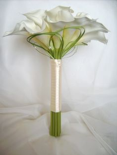 Simple, yet beautiful Calla Lilly bouquet.just adore Calla Lilly's! Bouquet Bride, Flower Bouquet Wedding, Boquet, Calla Lillies Bouquet, Lilies Flowers, Bride Flowers, Lys Calla, Fleur Design, Deco Floral